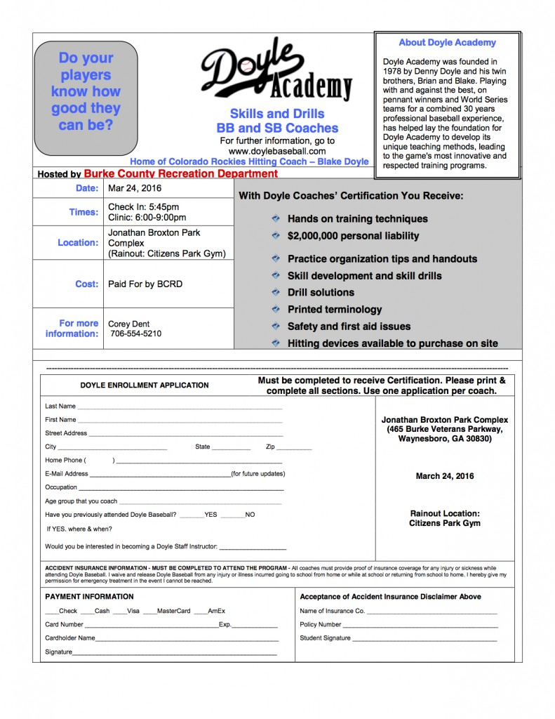 2016 Doyle Coach Clinic Form