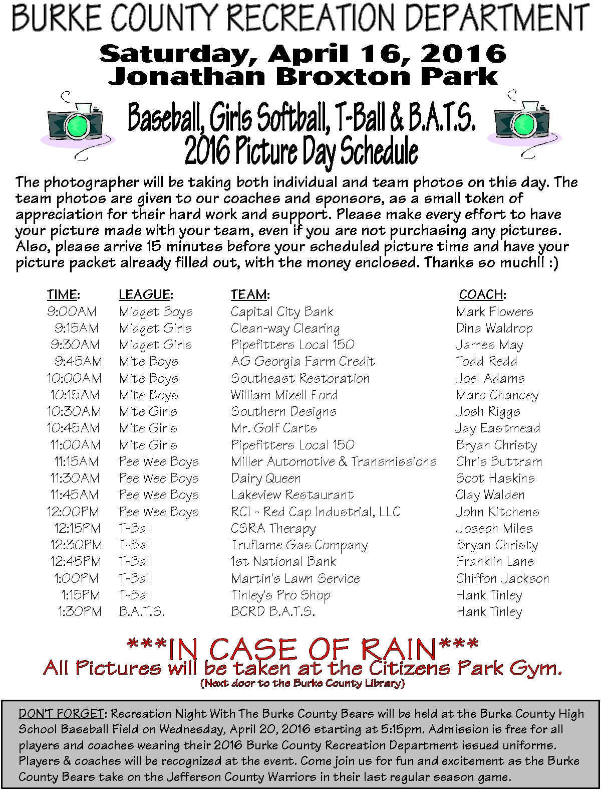 2016 Picture Schedule for Burke County Recreation Department