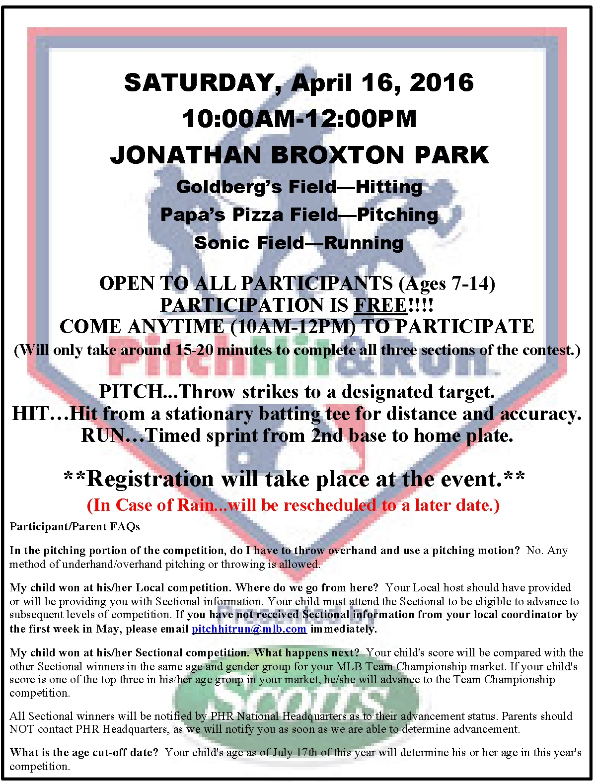 2016 Pitch, HIt & Run Flyer – Burke County Recreation Department